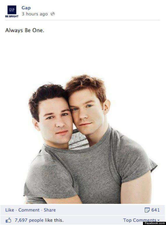 "When Gap launched an ad campaign featuring two men pressed together under a shared t-shirt, anti-LGBT group called One Million Moms, which is part of the American Family Association, launched a boycott. The group <a href=""http://www.opposingviews.com/i/society/gay-issues/one-million-moms-protests-gap-clothing-gay-billboard"" rel=""nofollow noopener"" target=""_blank"" data-ylk=""slk:stated"" class=""link rapid-noclick-resp"">stated</a>, ""GAP Inc. Brands, including Old Navy, Banana Republic, Piperlime and Athleta, does not deserve, nor will it get, money from conservative families across the country. Supporting GAP is not an option until they decide to remain neutral in the culture war. GAP needs to seriously consider how their immoral advertising affect the youth of our nation."""