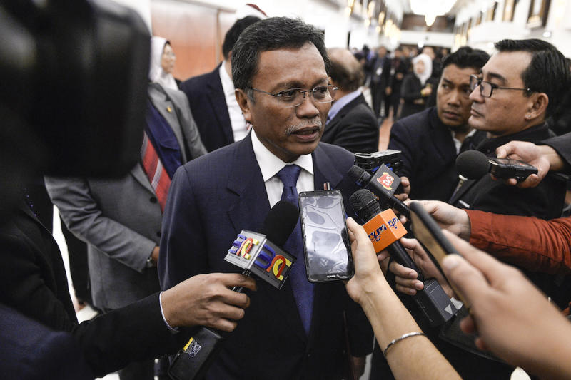 Sabah Chief Minister Datuk Seri Mohd Shafie Apdal speaks to reporters in Parliament after the tabling of Budget 2020 on October 11, 2019. — Picture by Miera Zulyana