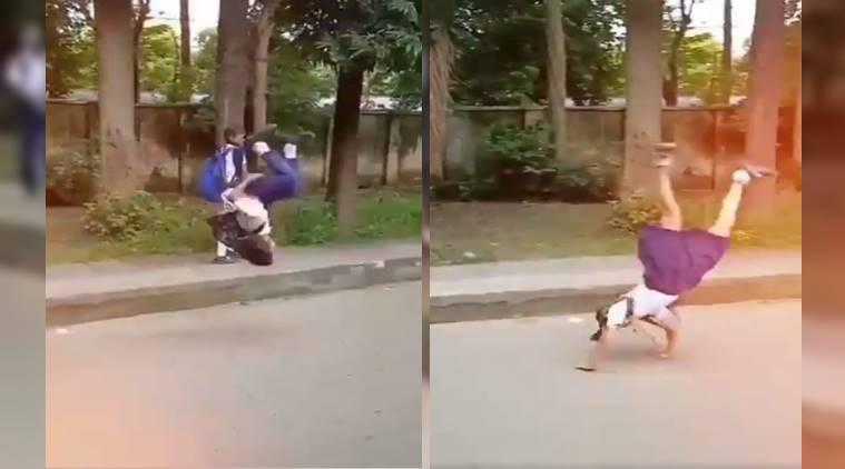 Nadia Comaneci, Kids doing Somersault and cartwheel, Kids doing Somersault and cartwheel viral video, trending, Indian Express