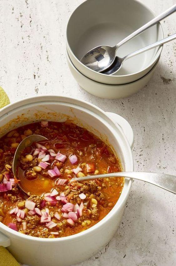 "<p>Chilly? Try chili. This hearty, one-pot recipe will warm you up on the coldest of nights.</p><p><em><a href=""https://www.goodhousekeeping.com/food-recipes/easy/a28366214/hearty-bean-and-beef-chili-recipe/"" rel=""nofollow noopener"" target=""_blank"" data-ylk=""slk:Get the recipe for Hearty Bean and Beef Chili »"" class=""link rapid-noclick-resp"">Get the recipe for Hearty Bean and Beef Chili »</a></em></p>"