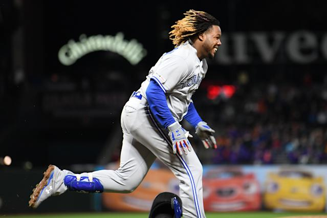 Vladimir Guerrero Jr. had plenty of reason to smile against the Giants. (Photo by Robert Reiners/Getty Images)