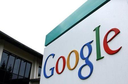 The logo of Google Inc. is seen outside their headquarters building in Mountain View, California Aug..