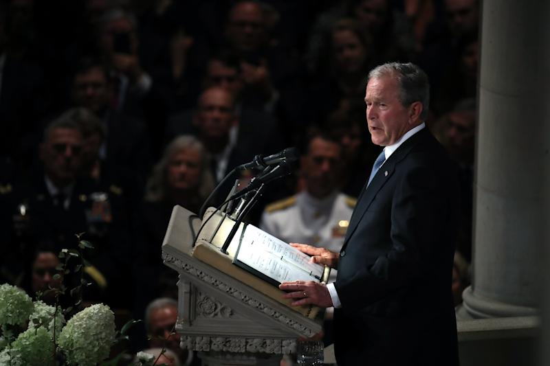 Former President George W. Bush speaks during a memorial service for Sen. John McCain at the National Cathedral in Washington on Saturday. (Mark Wilson via Getty Images)