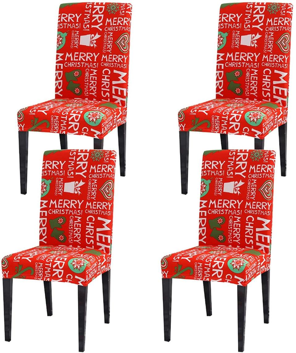 Ogrmar 4PCS Stretch Removable Washable Dining Room Chair Protector Slipcovers