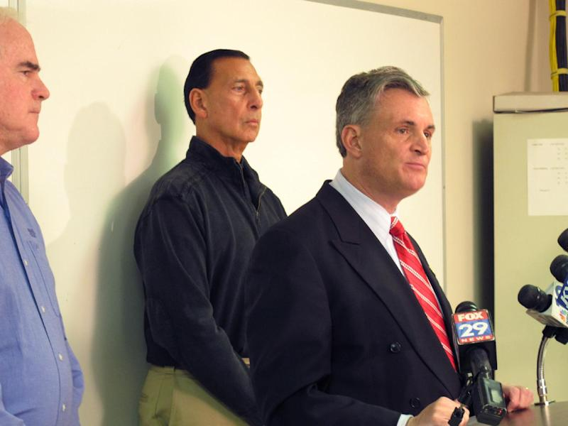 U.S. Rep. Rob Andrews, D-N.J., center, speaks along with Reps. Pat Meehan, R-Pa., left, and Frank LoBiondo, R-N.J., at a news conference in Clarksboro, N.J. on Thursday, Dec. 6, 2012. The representatives say there should be a deeper look at the causes and aftermath of the Nov. 30 train derailment in Paulsboro, N.J. (AP Photo/Geoff Mulvihill)