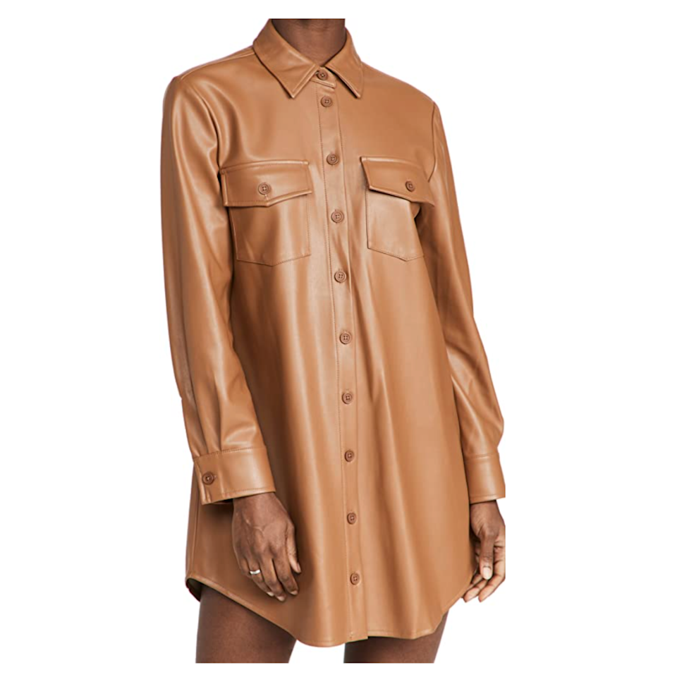 """Leather shirts are having a moment, so we're doubling down with this leather shirt<em>dress</em>. This sleek style is fit for an evening party, but could also work for a day back at the office; depending on the forecast, try pairing it with tights, or go barelegged with your favorite pair of boots. $99, Amazon. <a href=""""https://www.amazon.com/BB-DAKOTA-Womens-Leather-Shirtdress/dp/B09DTGXV4S"""" rel=""""nofollow noopener"""" target=""""_blank"""" data-ylk=""""slk:Get it now!"""" class=""""link rapid-noclick-resp"""">Get it now!</a>"""