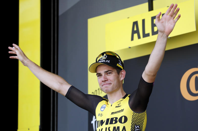 Stage 10 winner Van Aert hits barrier, crashes out of Tour