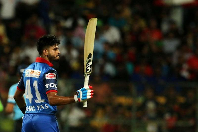 Shreyas Iyer raises his bat after completing half-century (Image: IPL)