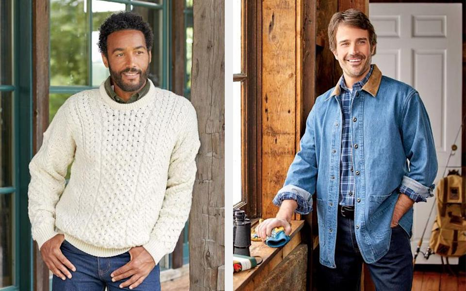 The Vermont Country Store Fisherman Sweater and Denim Barn Jacket