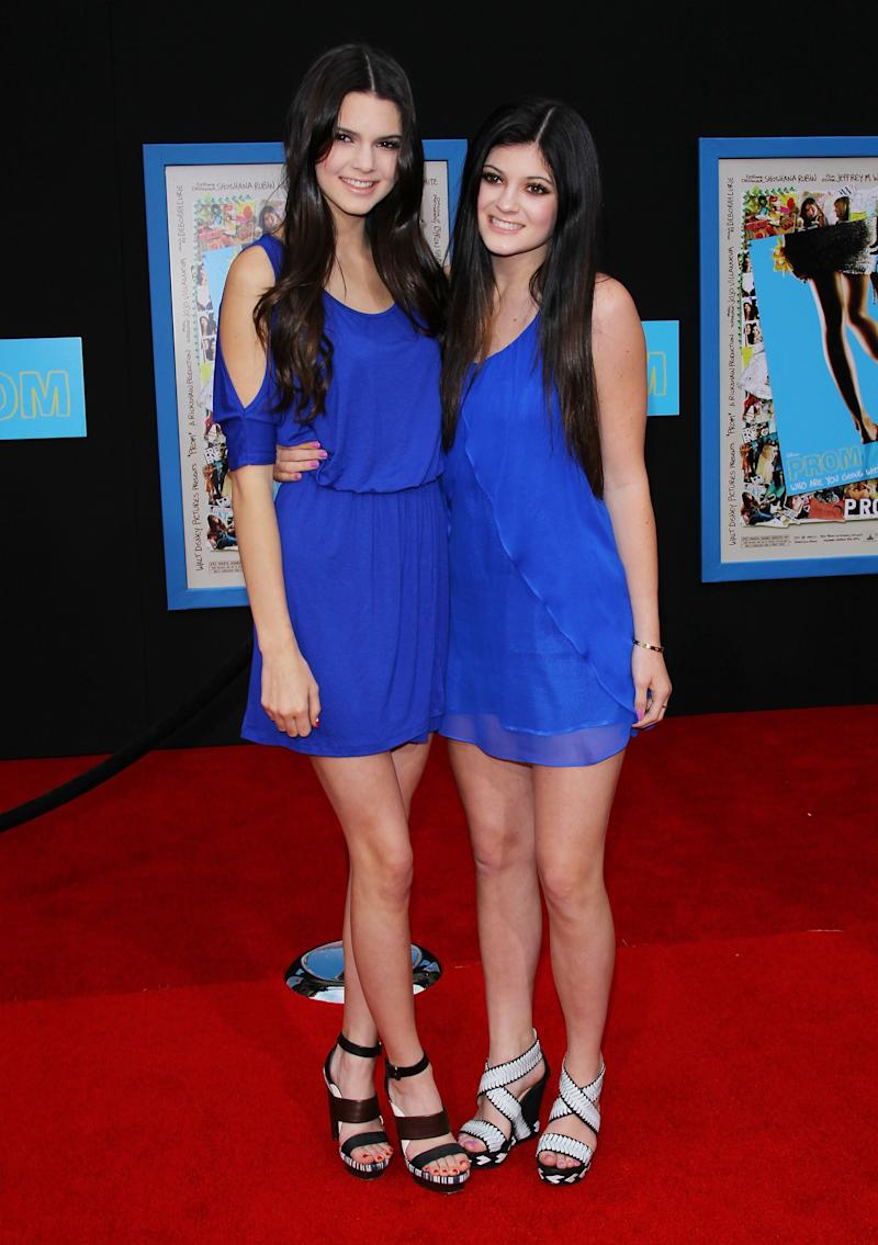 Kendall and Kylie prove their twinning days aren't behind them at the premiere of Prom in Hollywood, April 2011.