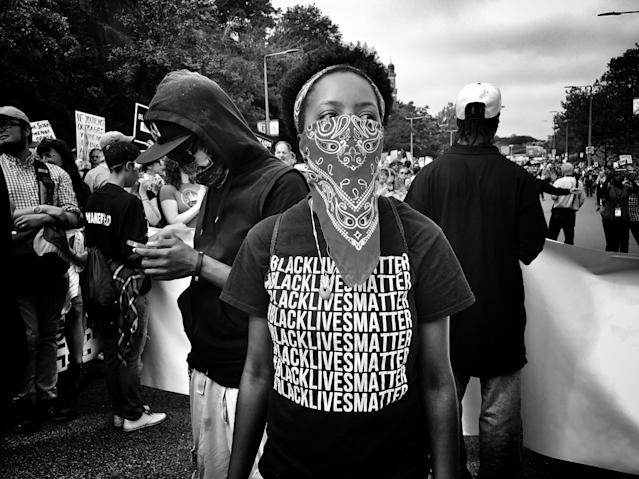 "<p>A member of ""Black Lives Matter"" at a counterprotest against a ""free speech"" rally staged by conservative activists Aug. 19 in Boston (Photo: Holly Bailey/Yahoo News) </p>"