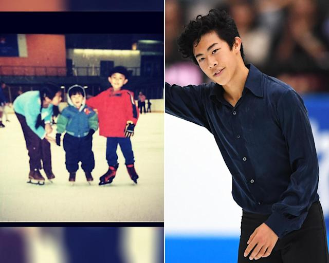 <p><strong>THEN:</strong> Nathan Chen steps onto the ice between big siblings.<br><strong>NOW:</strong> He's the first-ever skater to land six quadruple jumps in a competition.<br> (Photo via Instagram/nathanwchen, Photo by Takashi Aoyama/Getty Images) </p>