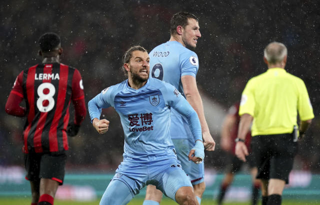 Burnley's Jay Rodriguez celebrates scoring his side's first goal of the game during the English Premier League soccer match against Bournemouth, at The Vitality Stadium, Bournemouth, England, Saturday, Dec. 21, 2019. (John Walton/PA via AP)