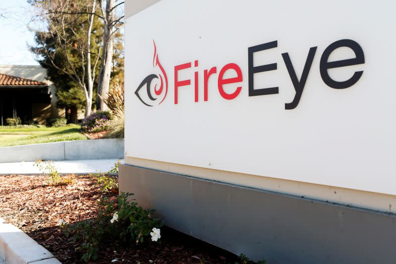 FILE PHOTO: FireEye logo is seen outside the company's offices in Milpitas, California