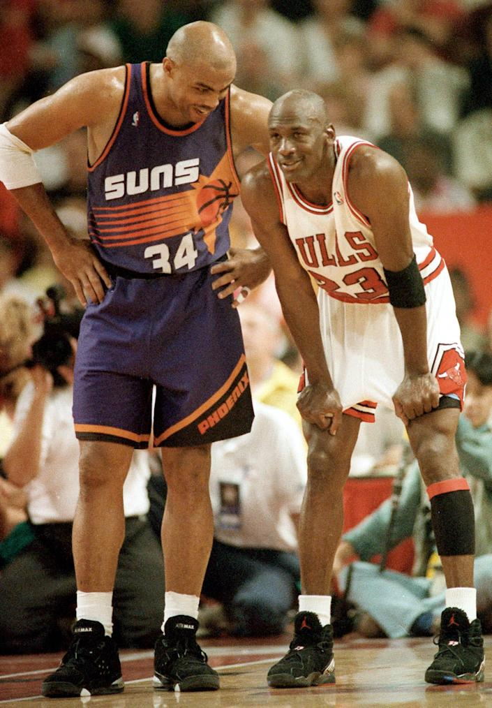 Michael Jordan (right) and Charles Barkley.