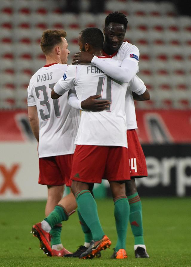 Soccer Football - Europa League Round of 32 First Leg - OGC Nice vs Lokomotiv Moscow - Allianz Riviera, Nice, France - February 15, 2018 Lokomotiv Moscow's Manuel Fernandes celebrates with team mates REUTERS/Jean-Pierre Amet