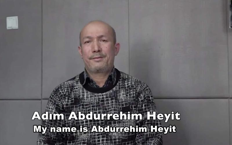 A man who identifies himself as Uighur poet and musician Abdurehim Heyit was seen in a video posed Sunday - REUTERS