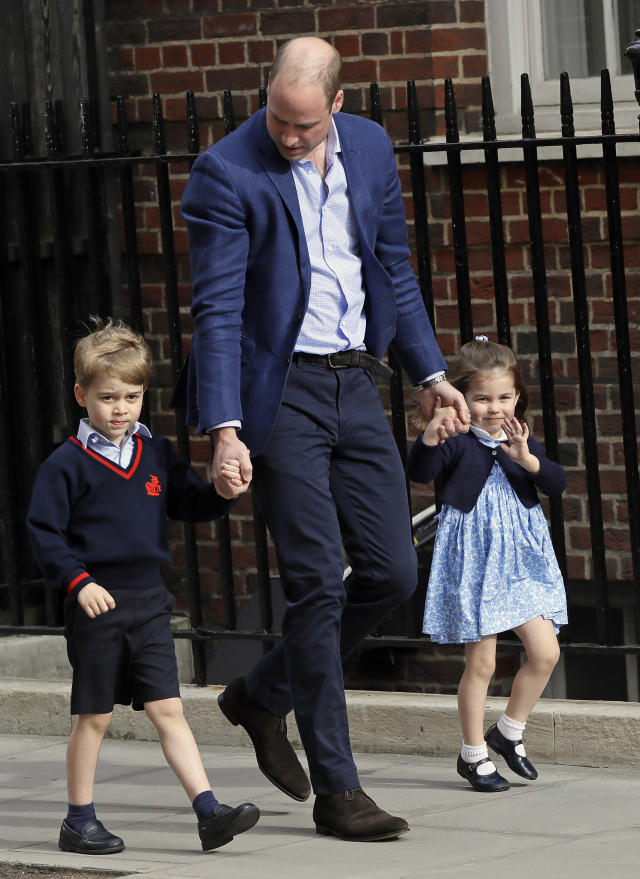 Prince William returns to St. Mary's Hospital in London on Monday with Prince George and Princess Charlotte. (Photo: Kirsty Wigglesworth/AP)