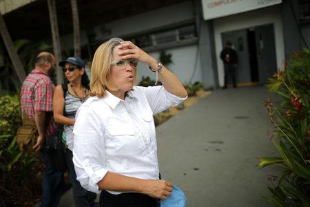 Mayor of San Juan Carmen Yulin Cruz stands outside of the government center at the Roberto Clemente Coliseum days after Hurricane Maria in San Juan