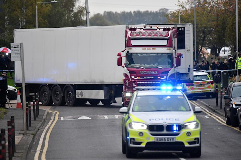 The lorry in which the bodies of 39 people were discovered at Waterglade Industrial Park in Grays, Essex (Picture: AFP/Getty)