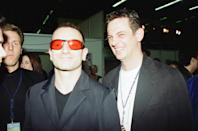 1997 MTV Europe Music Awards, after show party held at Hard Rock Cafe, Rotterdam, The Netherlands, 6th November 1997. Pictured, Matthew Wright Daily Mirror Journalist with Bono, lead singer of music group U2. (Photo by John Ferguson/Mirrorpix/Getty Images)