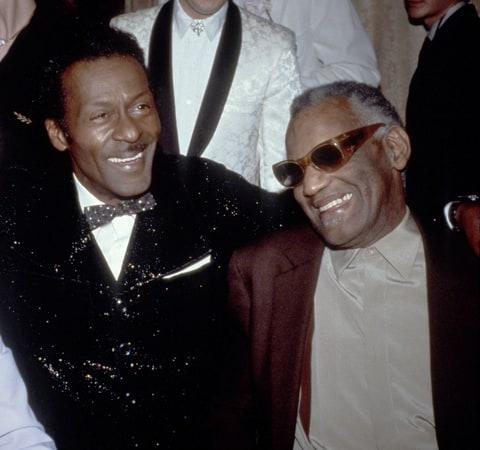 CIRCA 1986: Jerry Lee Lewis, Chuck Berry and Ray Charles attend the 1986 Rock n Roll Hall of Fame Induction Ceremony circa 1986 in New York City.