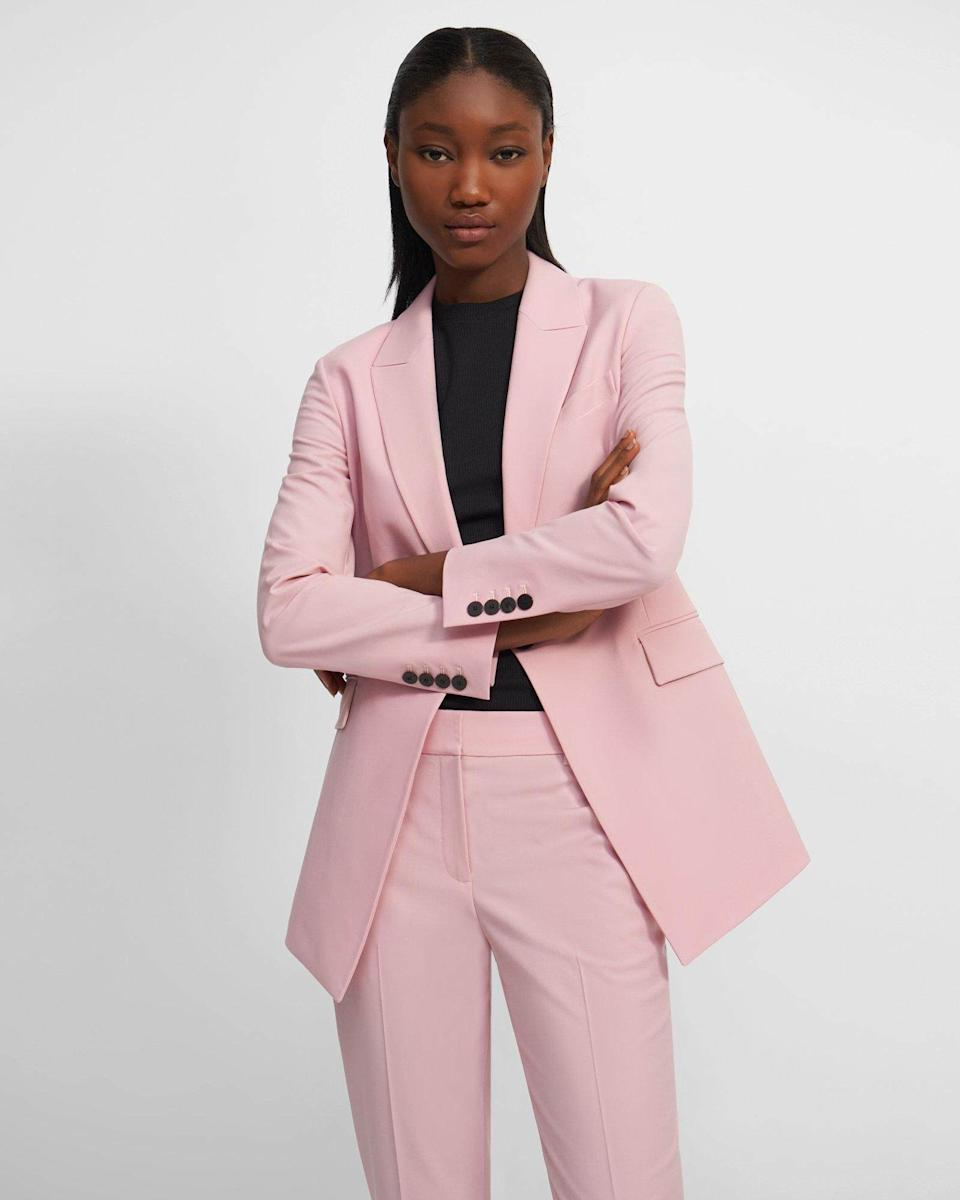 Theory Etiennette Blazer, $655, and Slim Crop Trouser, $375
