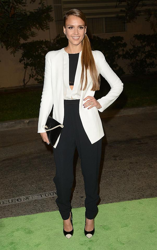 "Meanwhile -- at the 22nd Annual Environmental Media Awards -- Jessica Alba was photographed sporting a menswear-inspired ensemble. What do you make of the hot mama's capped-toe Giuseppe Zanotti pumps and Narciso Rodriguez getup, which featured a white blazer, cut-out blouse, and tapered black pants? Discuss!<br><br><a target=""_blank"" href=""http://omg.yahoo.com/blogs/aline/"">A-Line: Celebrity Style</a>"