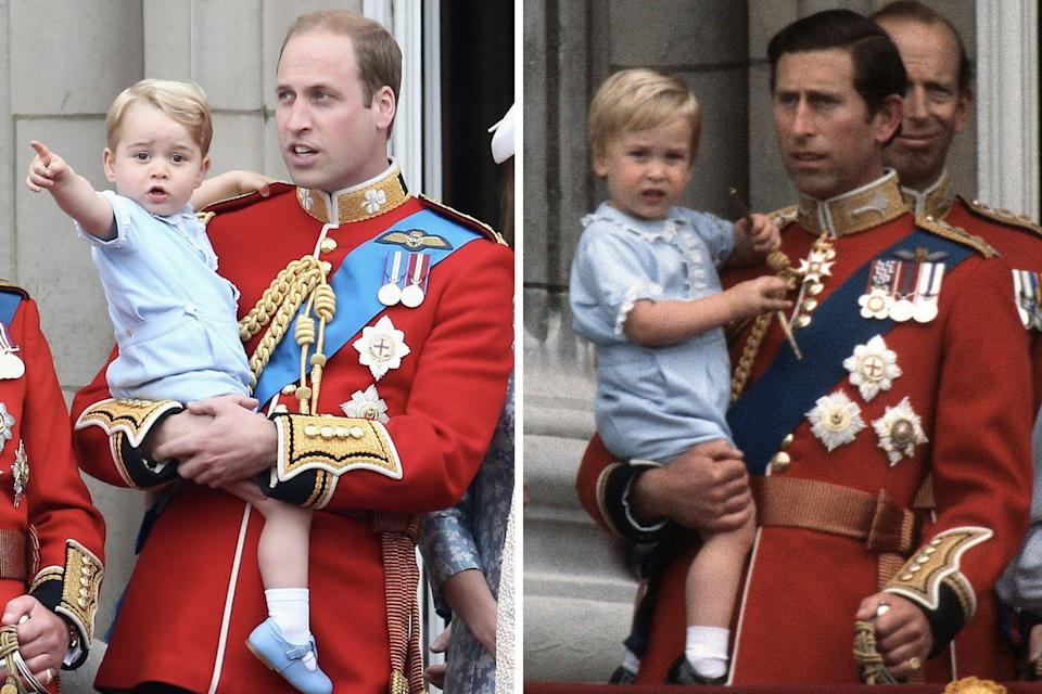 <p>Like father, like son: Prince George wore the same pastel-blue outfit to Trooping the Colour in 2015 that his father did all the way back in 1984.<br></p>