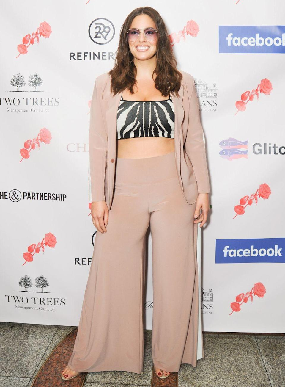 <p>At an event in New York: Ashley Graham wore the most perfect nude suit - complete with zebra crop top - to an event in New York in May. LOVE her sunglasses, too.</p>