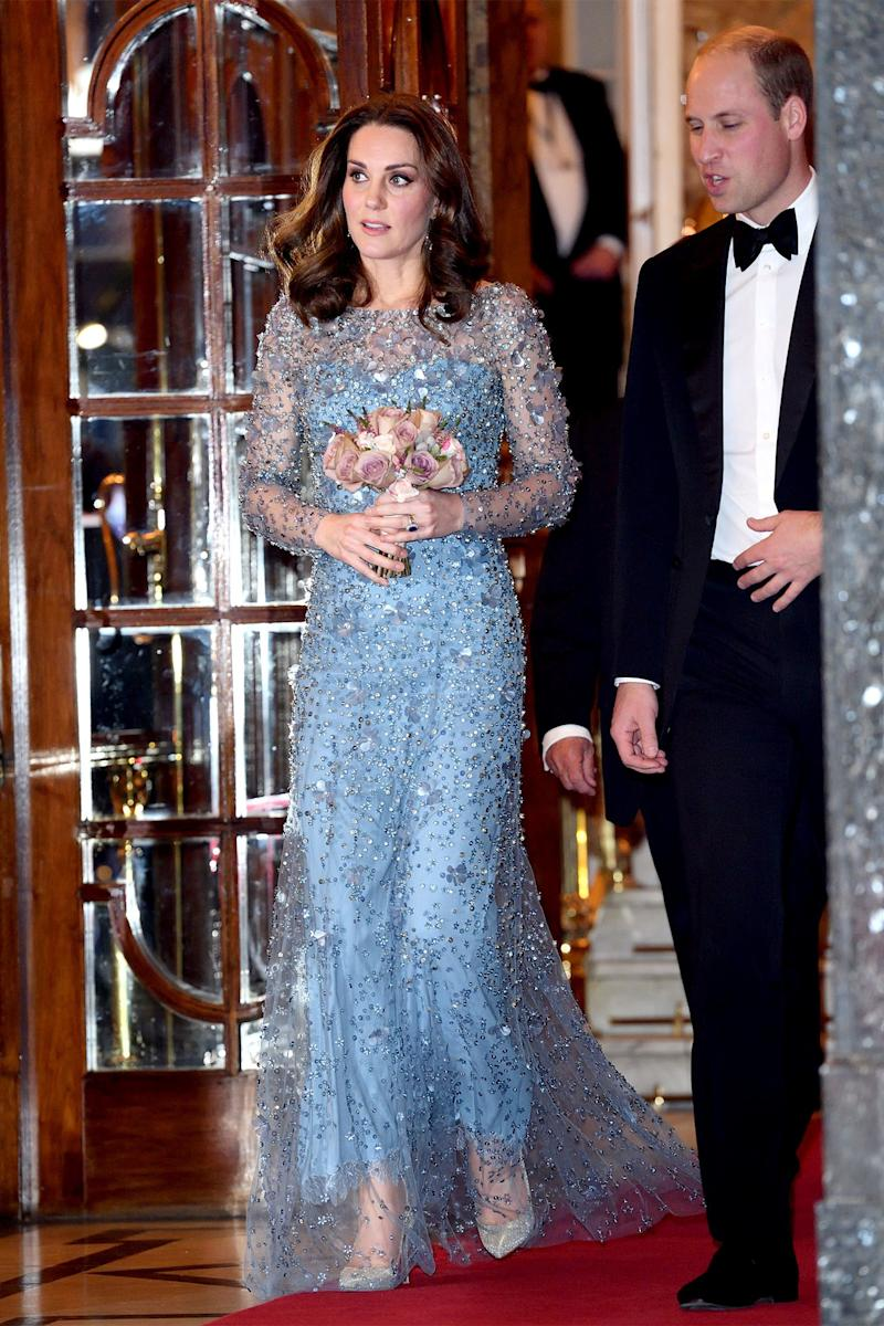 November 24: As if this stunning gown—worn to the Royal Variety Performance—wasn't enough of a showstopper, she held these flowers that look like a work of art on their own.