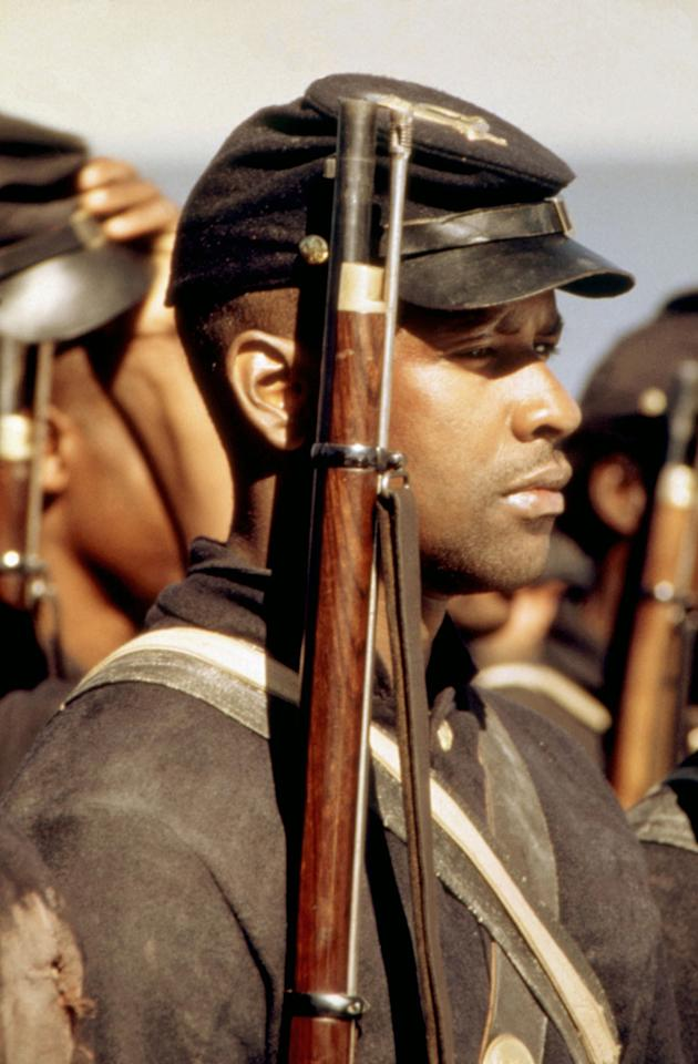 """<a href=""""http://movies.yahoo.com/movie/1800070872/info"""">GLORY</a> (1989)   His next big role was as Silas Trip, a defiant ex-slave turned soldier of the legendary 54th Massachusetts Volunteer Infantry. Once again Denzel was nominated for Best Supporting Actor. This time he won, making him at that point only the third African-American to ever win an Oscar."""