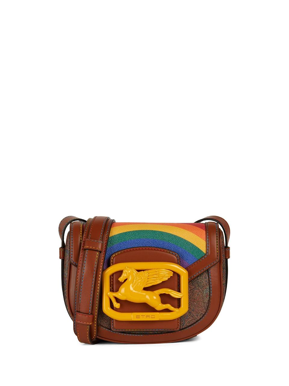 """<p><strong>Etro</strong></p><p>etro.com</p><p><strong>$1.00</strong></p><p><a href=""""https://www.etro.com/us-en/pegaso-pride-bag-202P1N3452417060001.html"""" rel=""""nofollow noopener"""" target=""""_blank"""" data-ylk=""""slk:Shop Now"""" class=""""link rapid-noclick-resp"""">Shop Now</a></p><p>The Italian fashion brand will donate a percentage of proceeds from each Pride bag sold to Casa Arcobaleno, an organization that provides shelter to LGBTQ+ individuals in Milan. </p>"""