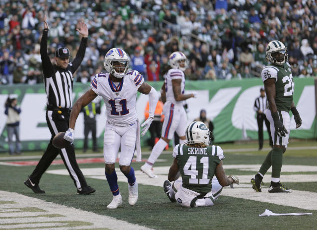 Bills wide receiver Zay Jones (11) celebrates a touchdown against the Jets. (AP)
