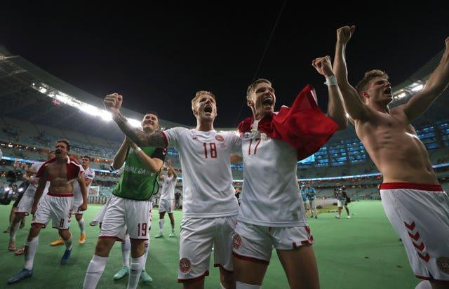 Danish players celebrate their win over the Czech Republic at Euro 2020