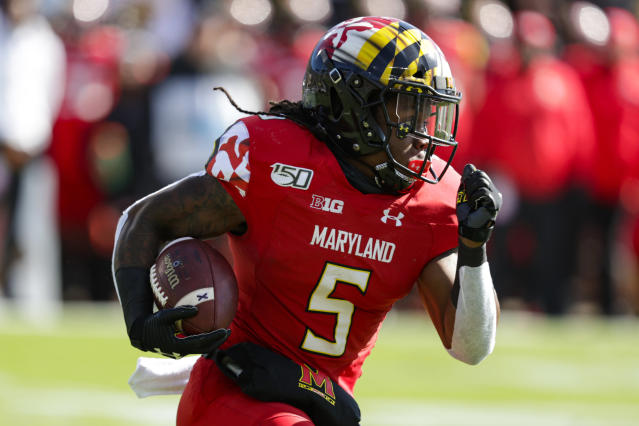 Maryland running back Anthony McFarland Jr. (5) runs against Purdue during the first half of an NCAA college football game in West Lafayette, Ind., Saturday, Oct. 12, 2019. (AP Photo/Michael Conroy)