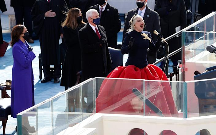Lady Gaga belting out the anthem - REUTERS