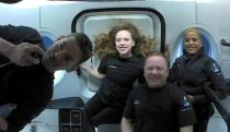 Inspiration4 crew seen on their first day in space in this handout photo released on September 17, 2021