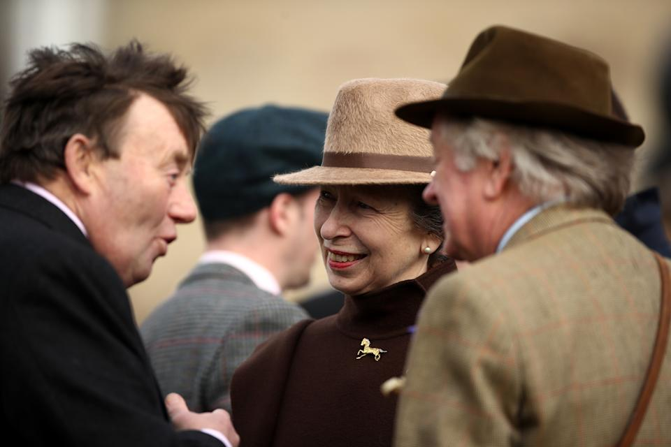 Princess Royal with Andrew Parker Bowles and Nicky Henderson during day two of the Cheltenham Festival at Cheltenham Racecourse. (Photo by Tim Goode/PA Images via Getty Images)