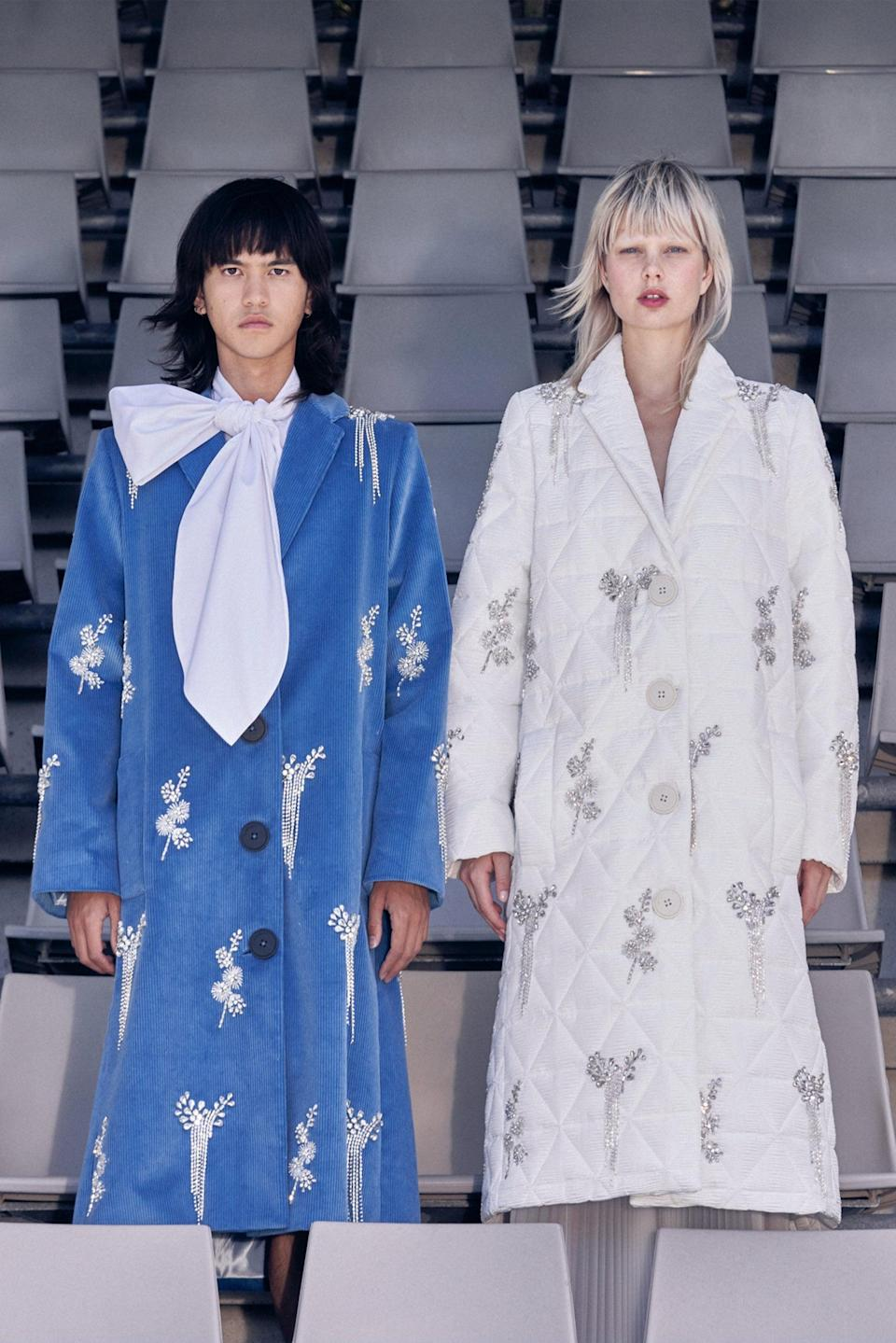"""<h2>DIY </h2><br>Blame it on all the time we've been spending at home, sitting at our makeshift craft tables, and slowly making our way through Pinterest, but designers are bringing DIY to the runway — and not just in the form of tie-dye (though there is plenty of that, too, this season). Rather, it's crystal detailing, crochet work, quilted fabrics, and more that popped up during Fashion Month, where Claudia Li added gemstone bows to duvet outerwear and SoCal designer Stan upcycled quilts to create jackets and trousers. <br><br><em>Claudia Li</em><span class=""""copyright"""">Photography by: Benn Jae.</span>"""