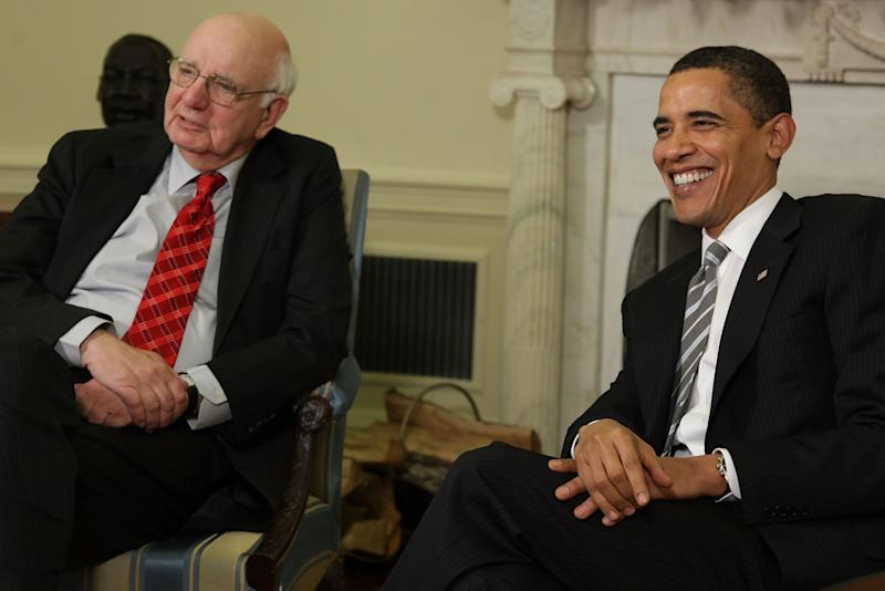 Then-President Barack Obama (right) and Economic Recovery Advisory Board Chairman Paul Volcker meet in the Oval Office at the White House on March 13, 2009 in Washington, D.C. (Photo: Mark Wilson via Getty Images)