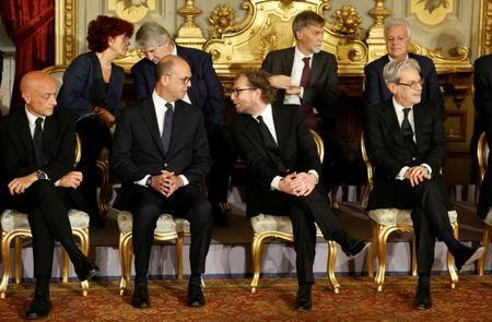 Newly appointed Italian Ministers talk during a swearing-in ceremony at Quirinale Palace in Rome