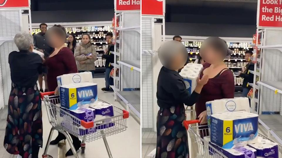 The Coles shoppers can be seen squabbling in the aisle.