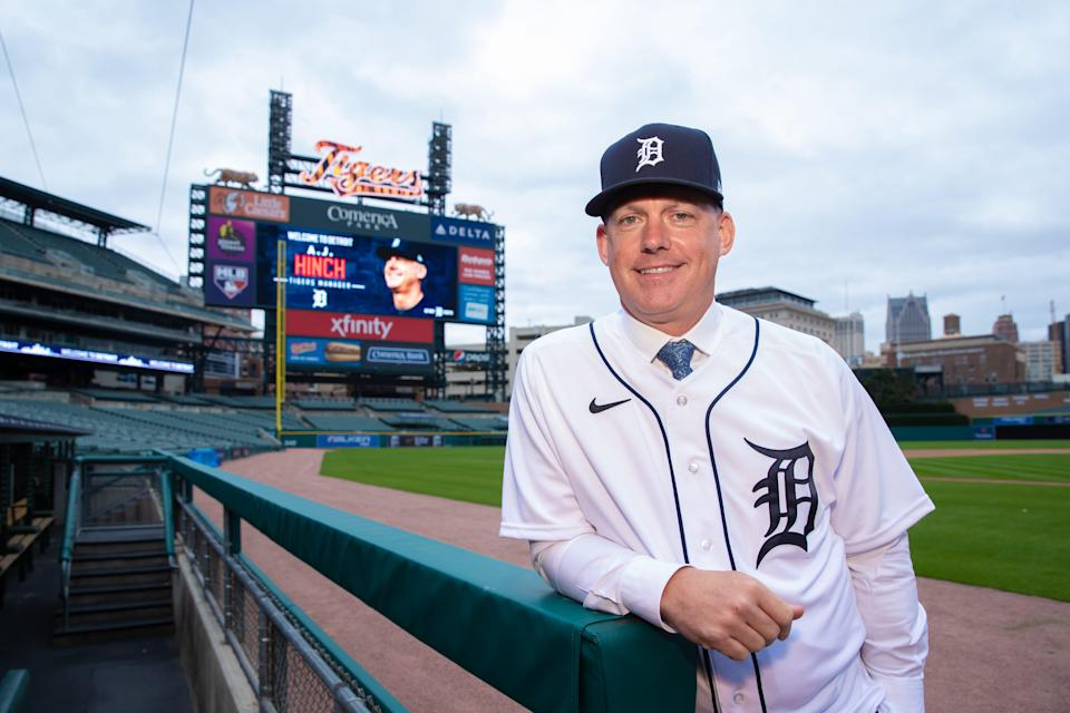 Detroit Tigers manager AJ Hinch poses for a photo inside Comerica Park on Friday, Oct. 30, 2020, after being hired to replace Ron Gardenhire.