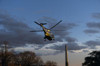 Marine One, with President Joe Biden aboard, lifts off from the South Lawn of the White House, Friday, Feb. 5, 2021, in Washington. (AP Photo/Alex Brandon)