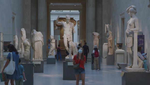 Museums are slowly re-opening, with social distancing in mind.  / Credit: CBS News
