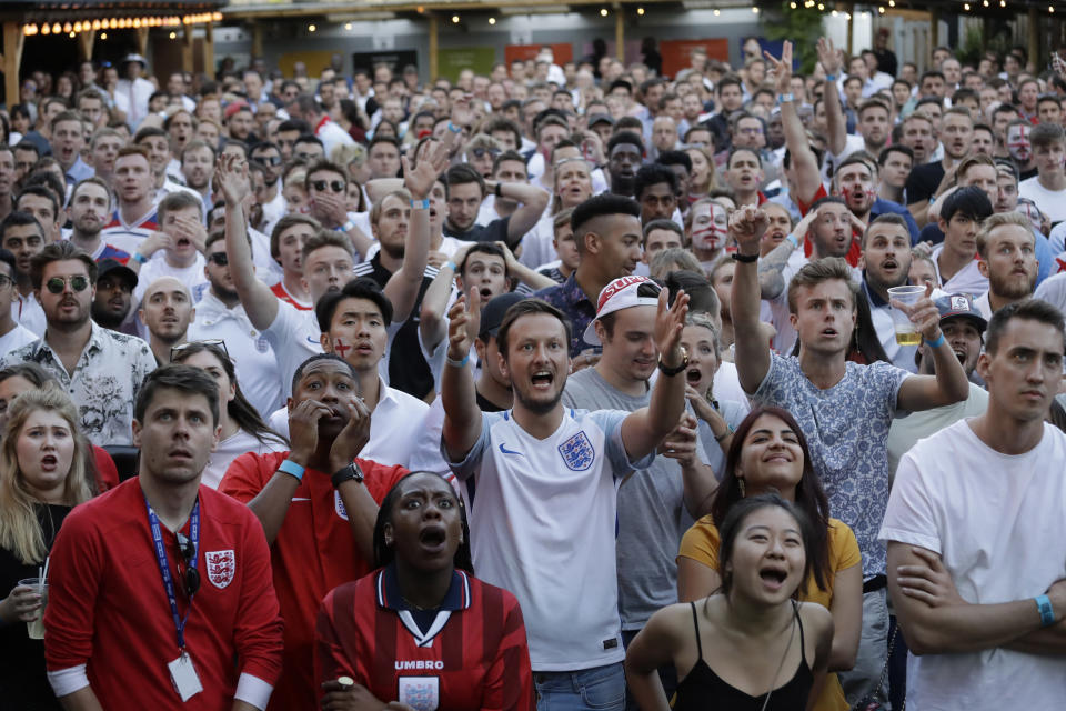 <p>England fans watching the game in south London can't hide their frustration </p>