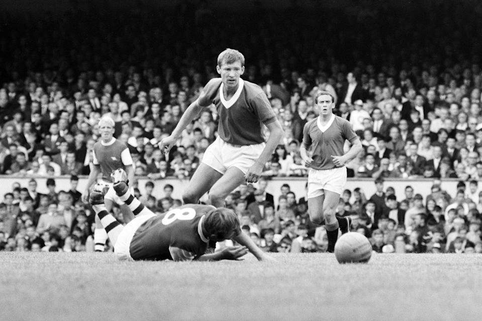 Fergie back in his playing days at Rangers, at Arsenal during a friendly in 1967