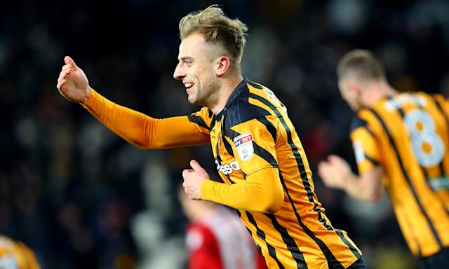 Hull City's Kamil Grosicki celebrates scoring the equaliser against Brentford.