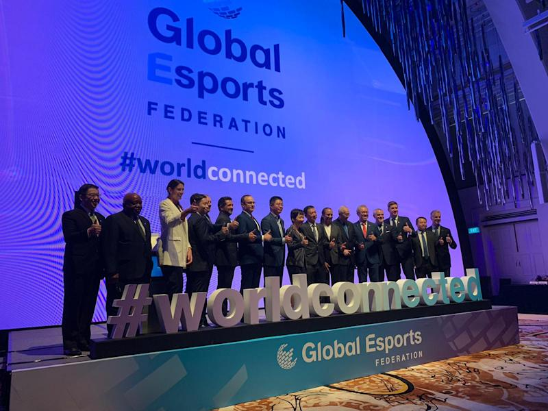The board of the Global Esports Federation (GEF) and guest of honour Minister for Culture, Community and Youth Grace Fu at the worldwide launch of the GEF in Singapore on Monday, 16 December 2019. PHOTO: Bryan Huang/Yahoo News Singapore